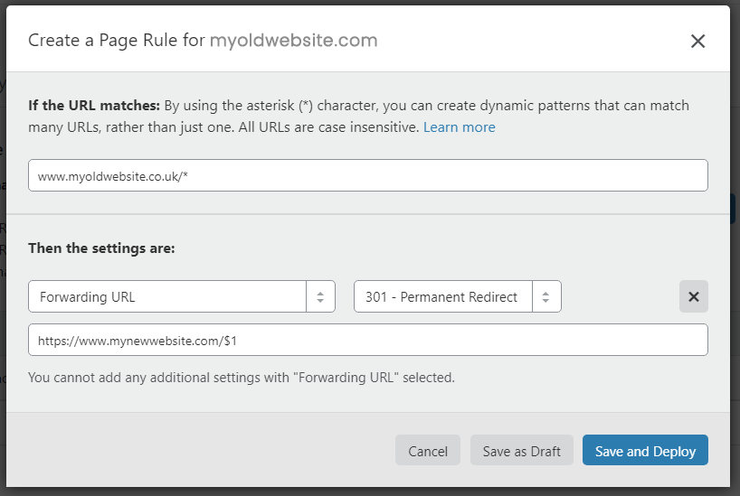Cloudflare Page Redirection 301